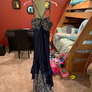 Dresses & Skirts - High-low Navy and Cheetah Prom Dress